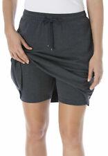 WOMAN's Size 38W 40W 5XL Cotton Sport Knit SKORT Tie Waist Charcoal Gray