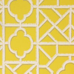 1970s Vintage Wallpaper Retro White Flock on Yellow