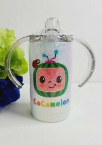 Cocomelon Custom glitter Sippy Cup stainless steel double wall tumbler 12 oz.