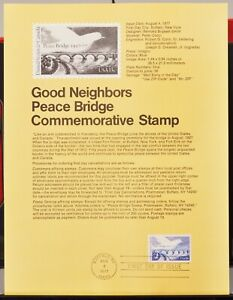USPS 1977 First Day Issue Souvenir Page, Good Neighbors Peace Bridge