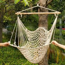 Hammock Cotton Swing Hanging Rope New Chair Wooden Camping Outdoor Beige
