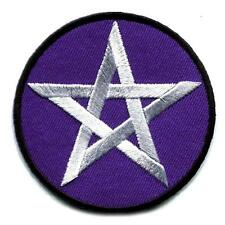 """PENTAGRAM IRON ON PATCH 2"""" Purple Star Wicca Pagan Occult Embroidered Applique"""