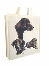 Labrador Chocolate Group Cotton Shopping Tote Bag Gusset & Long Handles