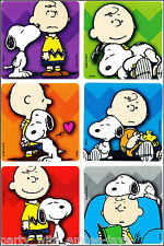 Charlie and Snoopy Stickers x 6 - Birthday Party Loot - Charlie Brown Peanuts