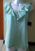 (NWT) Basic Editions Size Small White & Green Stripe Tank Top Retiails @ $12.99