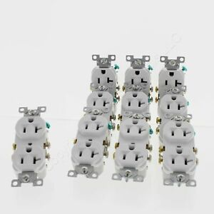 10 Eaton White COMMERCIAL Grade Duplex Outlet Receptacles NEMA 5-20R 20A CR20W