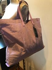 NEW ARMANI JEANS LILAC Large Tote Bag Nylon Patent Leather Handbag Purse