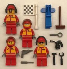 4 Lego Racecar Driver + Pit Crew Minifigs Lot: figures monster truck mechanic