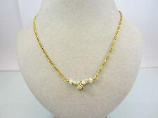 Dezente Kette aus Gold 585 mit Brillant und Perlen