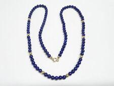 Collana oro giallo 18 kt 750 perle di lapislazzuli 4 mm -580/VE-
