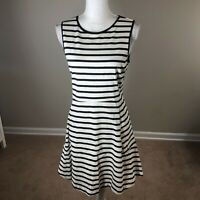 Theory  Sleeveless Fit And Flare Striped Cotton Dress 8 White/Navy Hidden Zipper