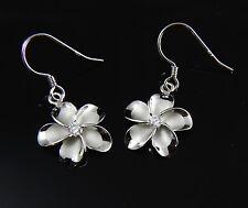 15MM STERLING SILVER 925 HAWAIIAN PLUMERIA FLOWER HOOK WIRE RHODIUM EARRINGS