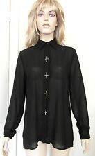 NEW Sweewe Paris Black Long Sleeve Collared Shirt with Faux Diamond Cross Detail