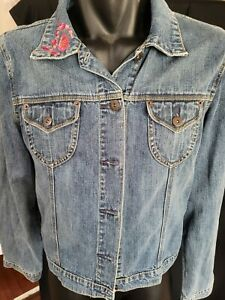 Hot Options Size 16  Blue Denim Jacket Women /Teenager with Bling on Collar