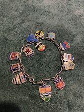Superb  Ladies  Vintage Solid Silver Charm Bracelet With Enamel Charms