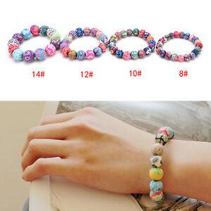 Women Handmade National Colorful Polymer clay Beads Bracelets Hand Chain A^SU