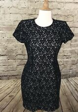 French Connection Black Lace Dress Short Sleeve Size 8