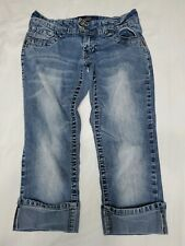 Angels Jeans Cuffed Light Wash Capris Size 5