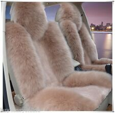 1pc Light Brown  Real Fur Sheepskin Car Seat Covers One Size Fit most