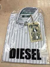 Mens Diesel Long Sleeved Shirt BNWT White Green Stripe Size 2