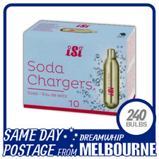 SAME DAY POSTAGE ISI SODA CHARGERS 10 PACK X 24 (240 BULBS) SYPHON CO2 SELTZER