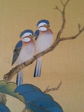 """Vintage Japanese painting on silk """"Birds""""  artist signed, 18×24 inches"""