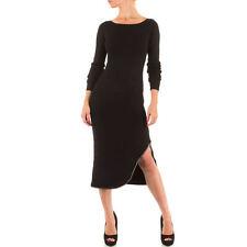 Sexy Strass Abendkleid Midi Knielang Kleid mit Bein Schlitz Schwarz 34 36 38