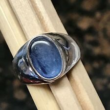 Natural Royal Blue Kyanite 925 Solid Sterling Silver Unisex Round Ring sz 7.75