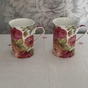 2 x Heath McCabe Stechcol Mugs Floral Design Mugs - Bone China - V Pretty
