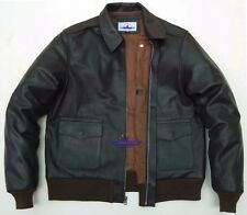MEN A2 Real GOAT LEATHER JACKET AIRFORCE US PILOTS FLIGHT BOMBER WWII Bronco