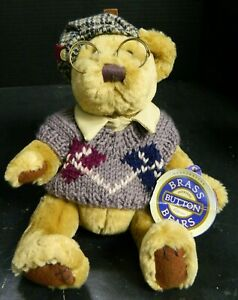 Vintage Brass Button Bears Sherwood The Bear Of Long Life Teddy Bear Excellent