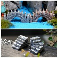 2Pcs DIY Stone Crafts Miniatures Fairy Garden Bridge Steps Waterwheel Home Decor