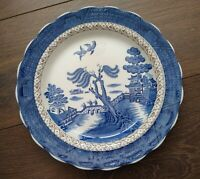 Vintage 1912+ Booths 25cm Dinner Plate Scallopped Rim Real Old Willow A8025 VGC