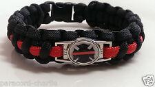 Thin Red Line; Fallen Fire Fighter Emblem Handmade Paracord Bracelet