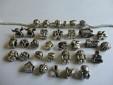 33 Mixed Silver European Style Charm Beads