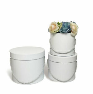 Set of 3 White Round Flower Box-Bouquet Gift Packaging Paper Boxes-Wedding Decor