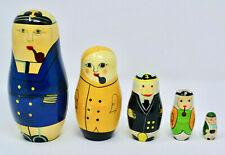 Vintage NAUTICAL Sailor Sea Captain Nesting Dolls Matryoshka 5 pc Wooden Wood