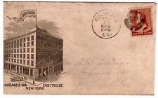 1886 Columbus Georgia Cancel on New York Cover - Shield Cigar Factory