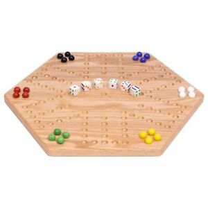 """Solid Oak Double-sided Aggravation (Wahoo) Marble Board Game Set, 16"""" Wide"""
