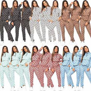 Womens Designer Inspired FN Print 2 Pcs Joggers Loungewear Tracksuit Co Ord Set