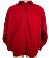 Merona Men's Button Down Long Sleeve Shirt Red Corduroy Mens Size Large Casual