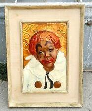Vintage Copper Clown Repousse/Painting Signed CE Pearson, Mid-Century Decor ART