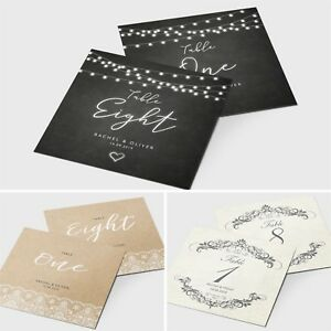 Personalised Wedding Table Number / Name Cards - Vintage Rustic Themes