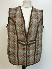 J912 WOMENS VINTAGE NORDIC BROWN WOOD CLASP WOOL VEST WAISTCOAT XL 14 EU 42