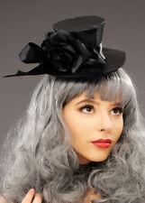 Gothic Vampire Black Satin Mini Top Hat