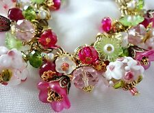 Antique Garden Charms Bracelet Lampwork Beads Crystal on Vintage M Haskell Chain