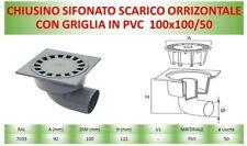 Chiusino sifonato SCARICO ORIZZONTALE con griglia PVC  100x100/50