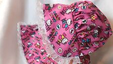 Adult Baby Sissy Bonnet and Bib Set Hello Kitty Planes