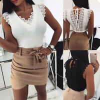 Womens V-Neck T-shirt Crochet Backless Blouse Sleeveless Lace Up Vest Tops Tank