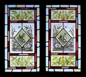 Rare Kiln Fired Painted Maidens & Birds On Lily Ponds Pair Stained Glass Windows